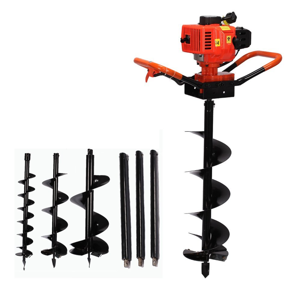 ZXMOTO 72cc 2 Stroke Power Engine 4HP Gas Powered Post Hole Digger with 4 8 12 Auger Bits One Man Earth Auger