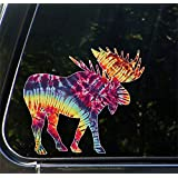 "Tie-Dye Rainbow Moose - White Outline - Contour Cut and Printed Car Vinyl Decal Copyright © Yadda-Yadda Design Co. (5.5""w x 5""h)"