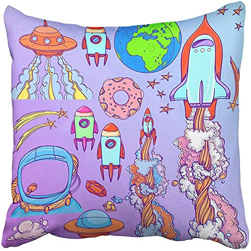 Decorative Throw Pillow Case Cushion Cover Action The Spacecraft Different Types of Shuttles and Flying Saucers Aliens Doodle 18x18 inch Cases Square Pillowcases Covers Two Sides Print ()