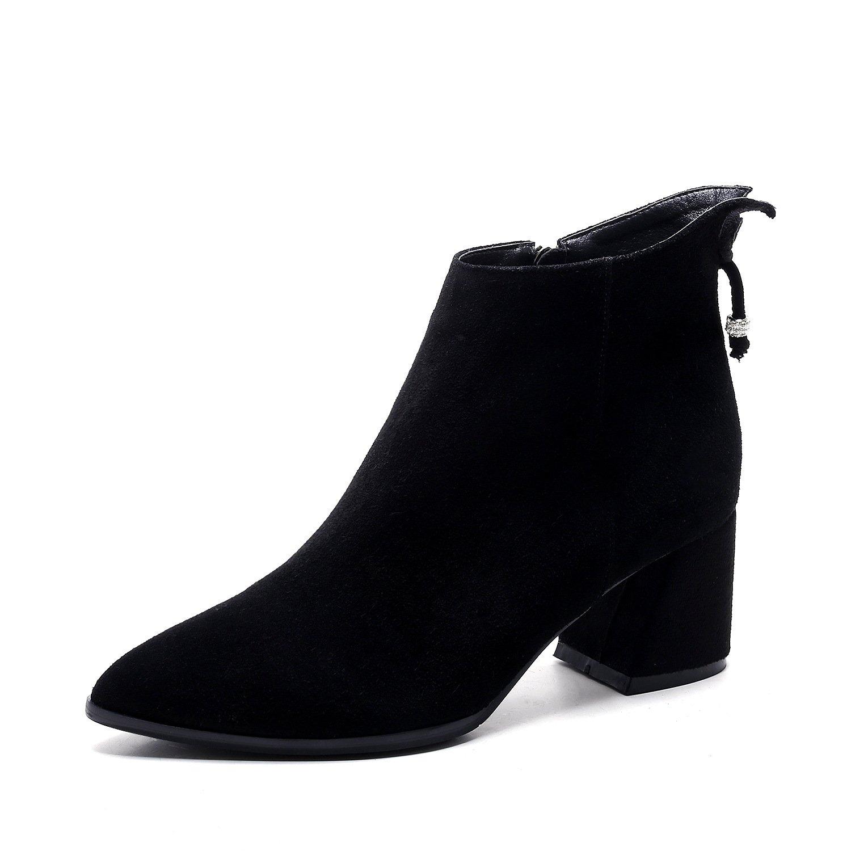 DYF Frauen Nackt Schuhe Schuhe Schuhe Kurze Stiefel Scharfe Rauhe Ferse Strass Farbe C 38 5267f1