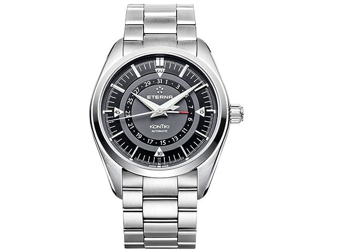 Reloj Automático Eterna KonTiki Four-Hands, SW 220-1, Negro, Brazalete de acero: Amazon.es: Relojes