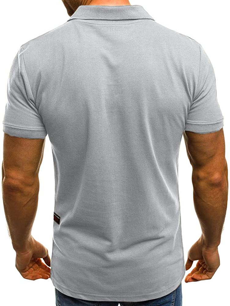 POLP Polos para Hombre Camiseta de Manga Corta con Cremallera y ...