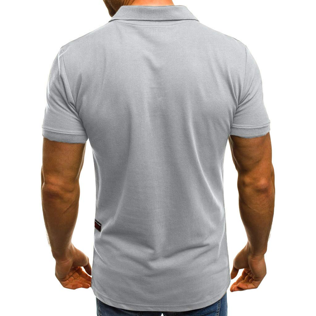 Fashion Mens Blouse Short Sleeve Pockets T Shirt Personality Casual Slim Top
