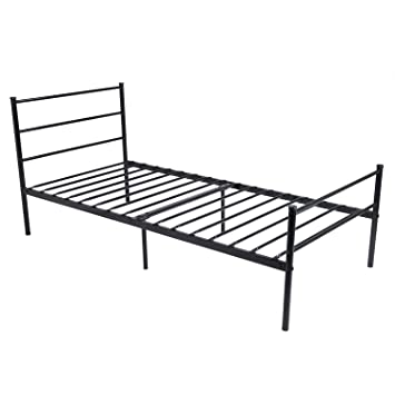 metal bed frame twin size greenforest two headboards 6 legs mattress foundation black platform bed
