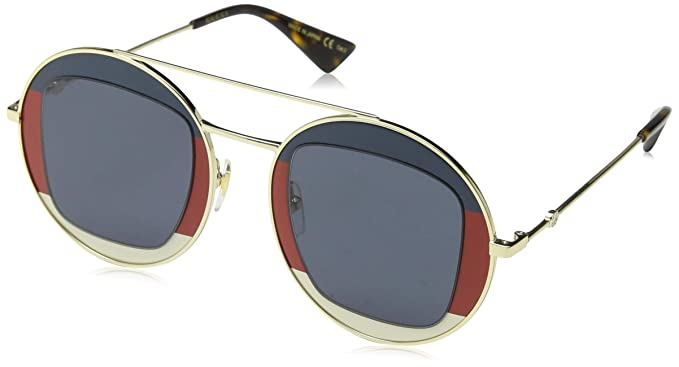 e9280df50 Amazon.com: Gucci GG 0105 S- 005 GOLD/BLUE Sunglasses: Clothing