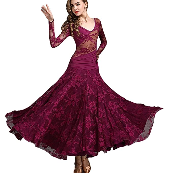 Ballsaal Für Trainieren Kleid Nationale Schnüren Tanz Voll Frauen EIDW9H2