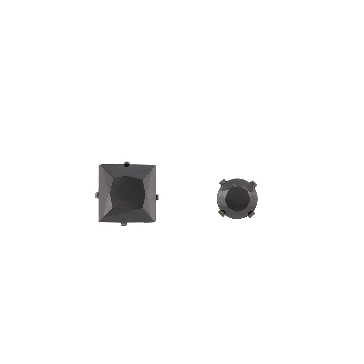 Arrow Jewelry Stainless Steel Polished Mismatched Black CZ Square and Round Black IP-Plated Stud Post Earrings
