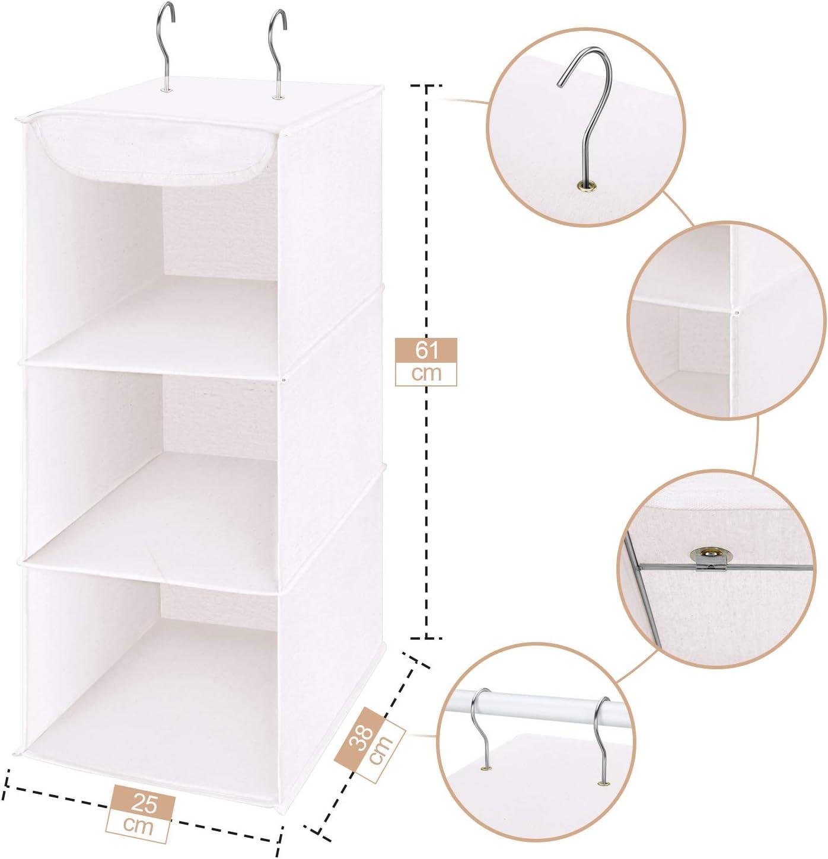 N//A BIGDOM Estanter/ía Colgante Plegable De 3 Niveles Hanging Shelf Estante de Tela Organizador Colgante para Armario de Tela