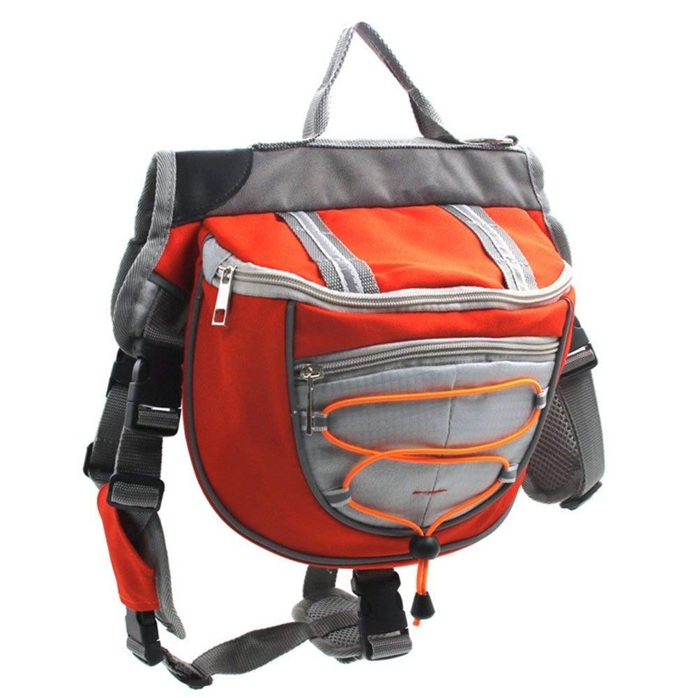YU KEN Pet Saddle Bag Carriers Adjustable Straps Harness Backpack Large Dog, Adjustable Straps (M, Red)