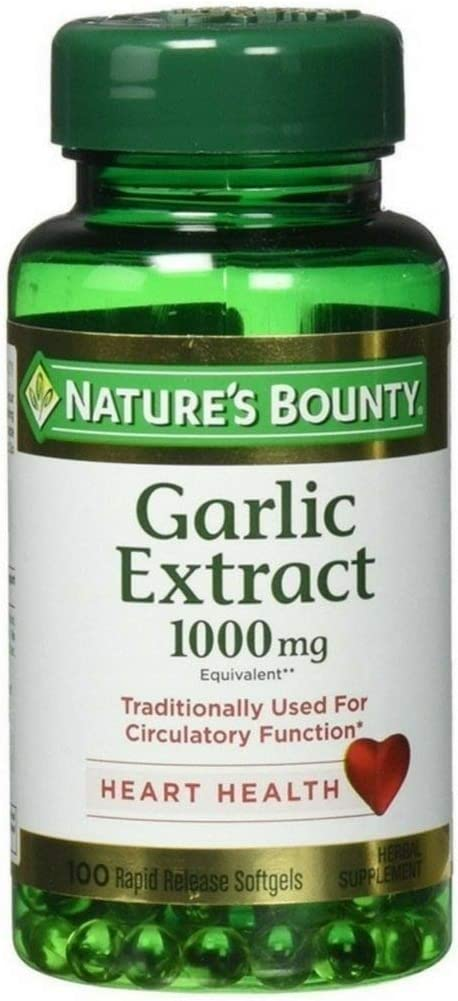 Nature s Bounty Garlic Extract 1000 mg Softgels 100 ea Pack of 2