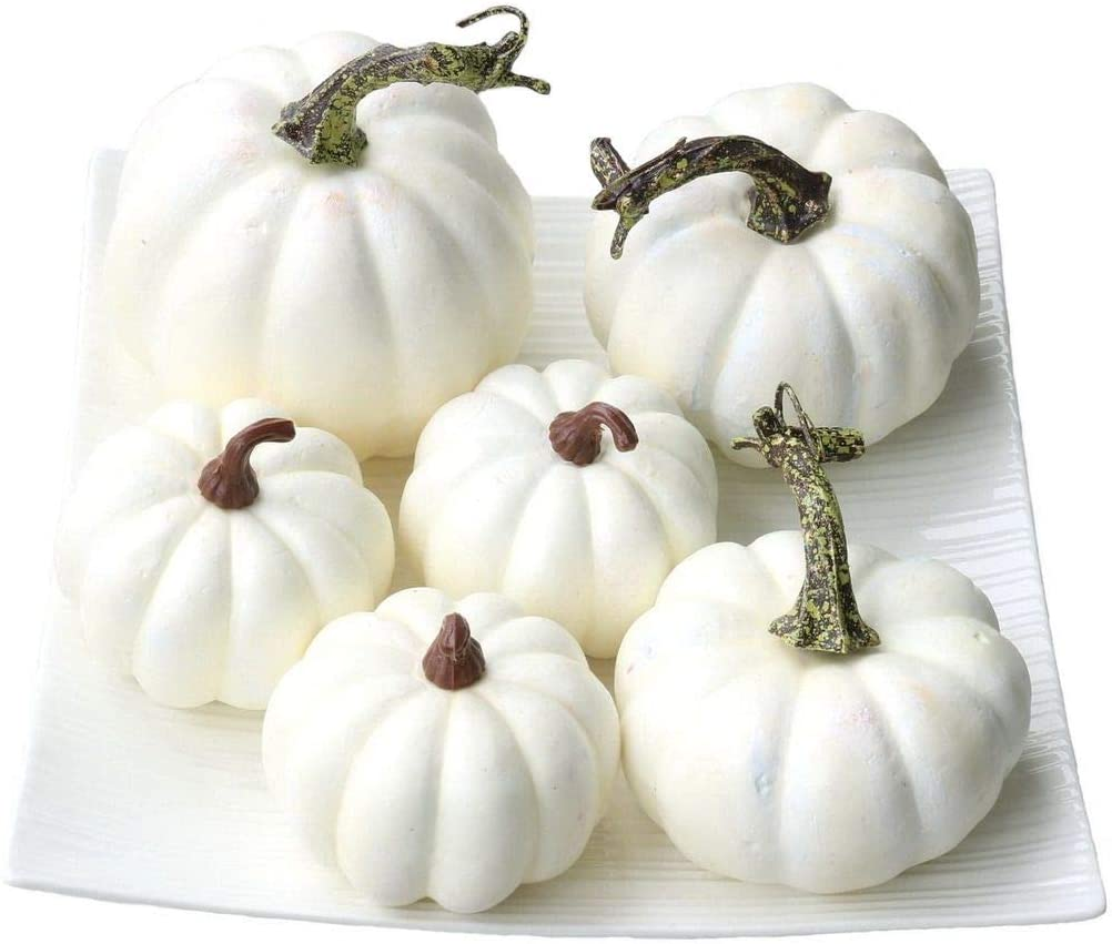 Gresorth 6 PCS Fake White Pumpkins Fall Autumn Halloween Christmas Decoration