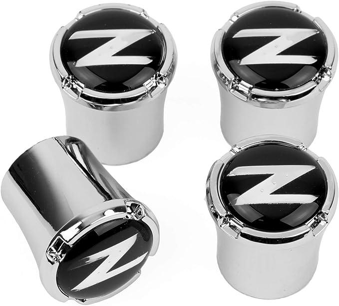 Nissan 370Z Z logo in Black on Shining Silver Aluminum Tire Valve Stem Caps