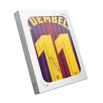 exclusivememorabilia.com Camiseta de fútbol Barcelona 2017-18 firmada por Ousmane Dembele. En Caja de Regalo: Amazon.es: Deportes y aire libre
