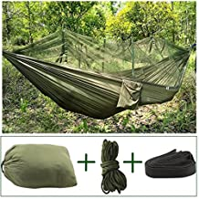 Hammock Camping Mosquito Net Hammock Single Portable Hanging Bed High Strength Parachute Pro Hammock Reversible Compact Lightweight Bug Netting Travel Beach Yard Nylon (Army Green)