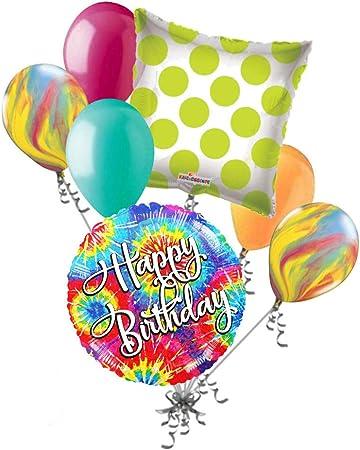 Amazon.com: 7 pc Tie Dye feliz cumpleaños ramo de globos ...