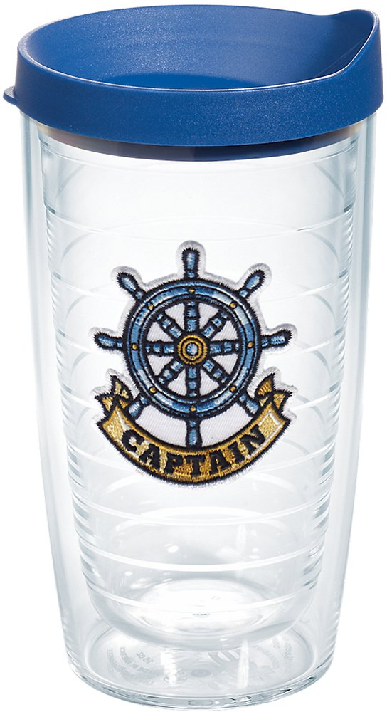 Clear Tervis 1167537 Captain Wheel Tumbler with Emblem and Blue Lid 16oz