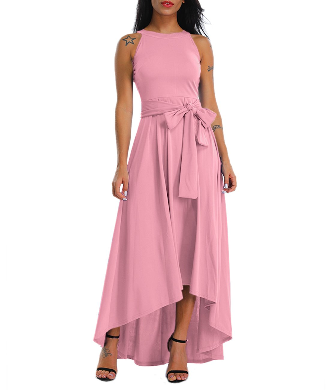 Lalagen Womens Plus Size Sleeveless Belted Party Maxi Dress with Cardigan by Lalagen (Image #1)