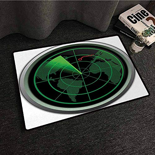 DuckBaby Washable Doormat Airplane Military Radar Screen Global Defense Danger Detecter Scanner Signal System Print Easy to Clean W35 xL59 ()