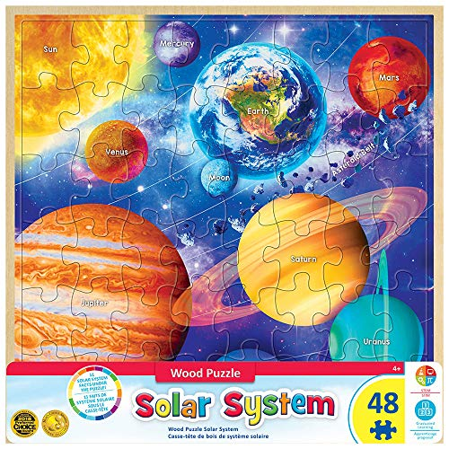 48 Piece Solar System - MasterPieces Real Wood Tray Jigsaw Puzzle Solar System, Mom's & Preferred Choice Awards, STEM Product, 48 Pieces, for Ages 4+