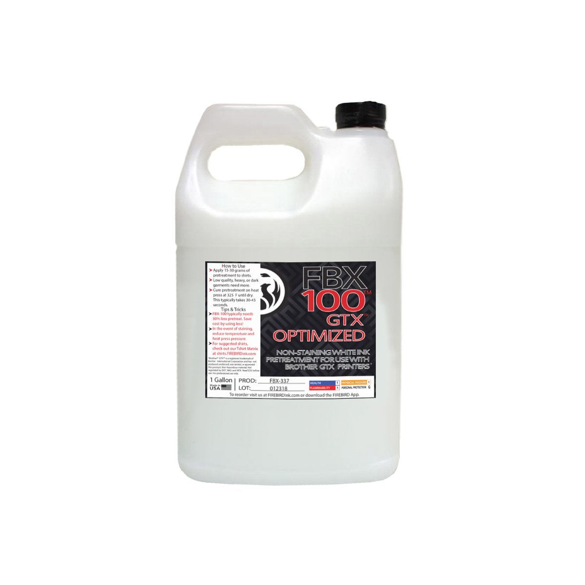 Brother GTX Optimized Pretreatment for DTG Printer Firebird 1 Gallon by All American MFG & Supply