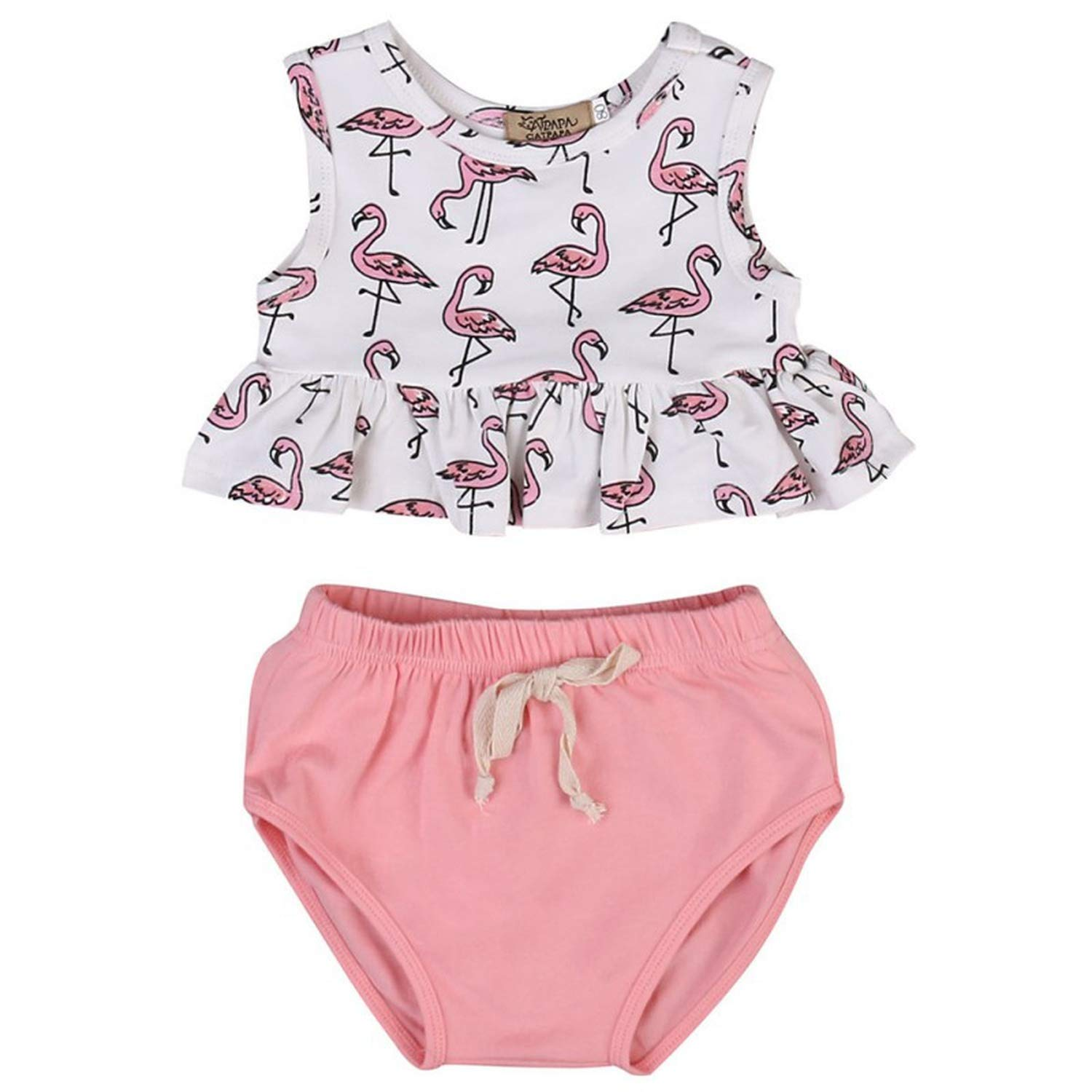 Baby Girl Romper Sleeveless Flamingo Ruffles T Shirt Bloomer Bottoms Infant Outifts Sunsuit 2pcs//Set