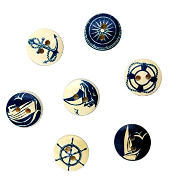 Dylandy Botones de madera azul marino serie redondos hechos a mano botones para manualidades costura scrapbooking DIY decoración 15 mm