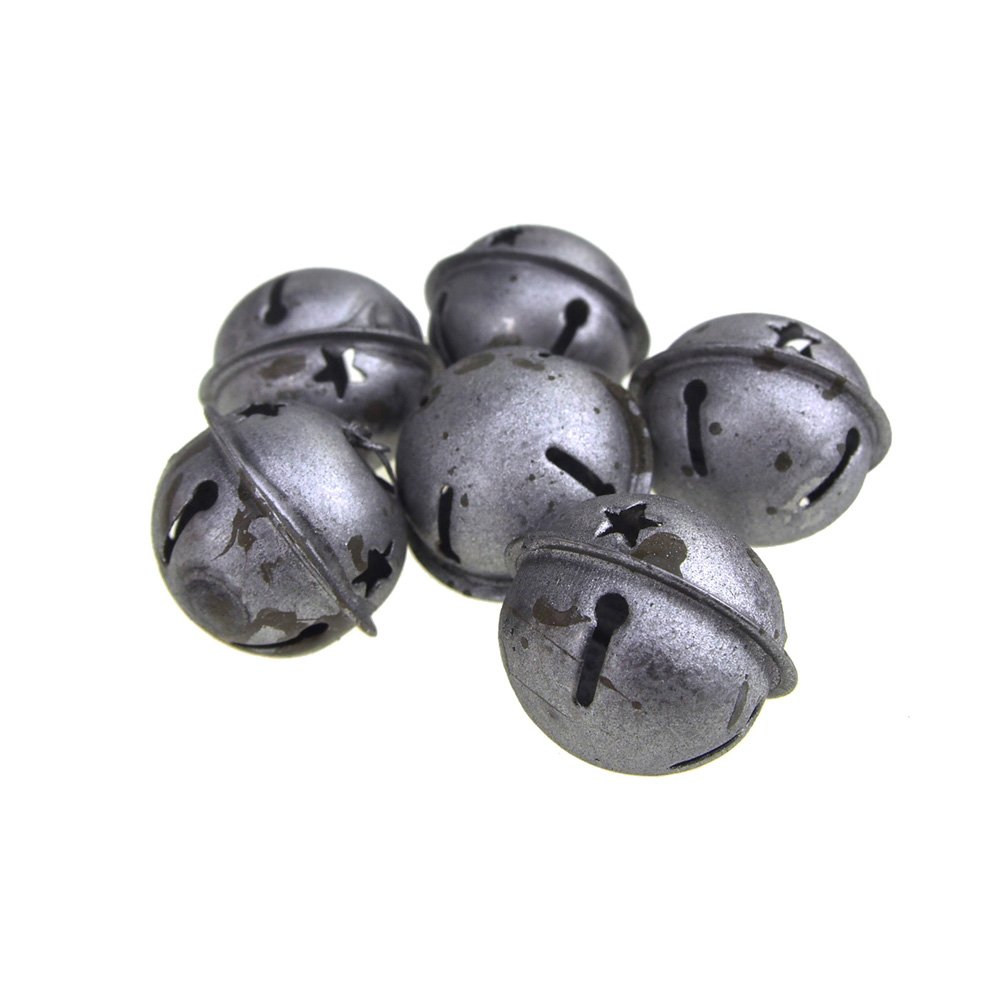 Homeford Rustic Style Galvanized Silver Christmas Jingle Bells (1-1/4-Inch)
