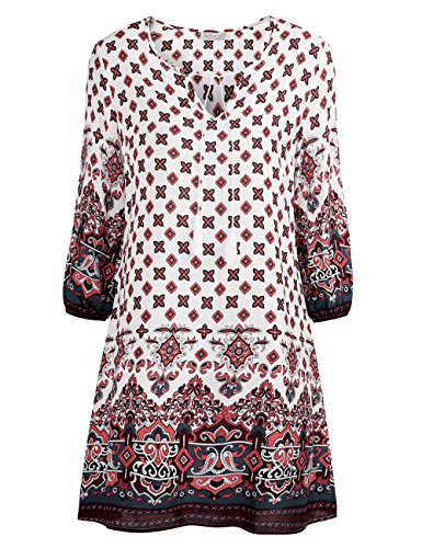 BaiShengGT Women's Tied V-Neck Ethnic Printed Casual Mini Dress Small White Floral (Wash 100 Rayon)