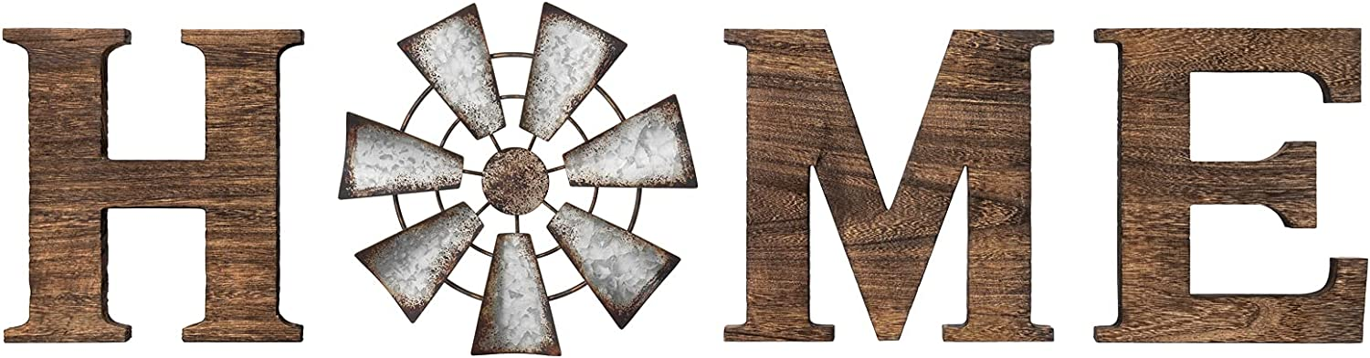 Mkono Wall Hanging Wood Home Sign with Metal Windmill for O Rustic Wooden Home Hanging Letters Decorative Wall Decor Signs for Living Room House, Brown