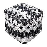 Aztec Pattern Black White Pouf | Ikat Tribal Cube Fabric Diamond Argyle Seat