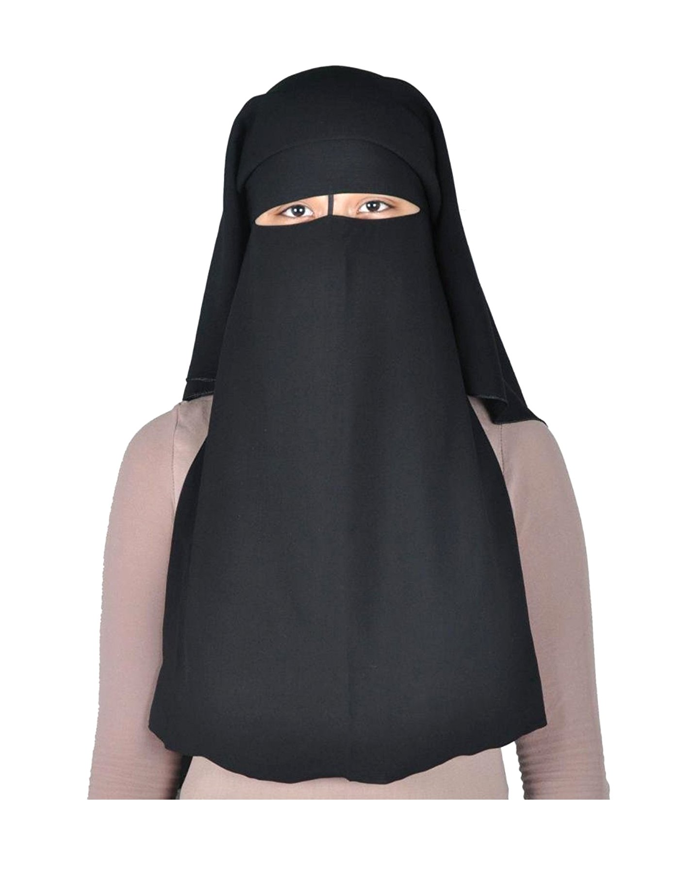 Long Saudi Niqab Nikab 3 Layers burqa Hijab Face cover Veil Islam Islamic Jilbab (Black)