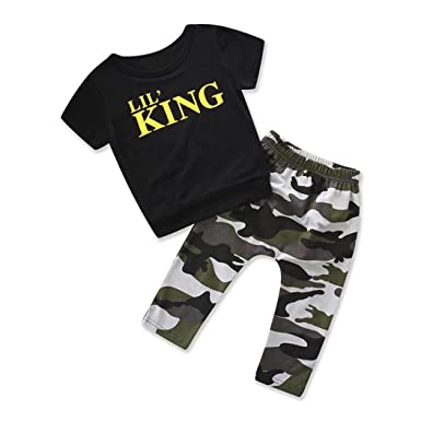 79ff3002ca9a0 Lavany Toddler Outfits 2PC Kid Boys Letter Tops Camo Pants Clothes Set For  1-5