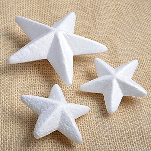 Adorox White Styrofoam Stars Arts & Crafts Floral Wedding Event Decoration Supplies (3 Inch (12 Pieces) (Arts And Crafts For Christmas)