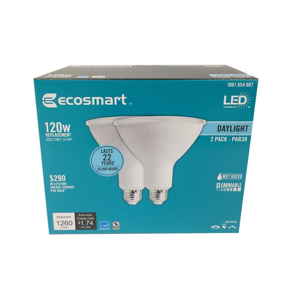 EcoSmart 120W Equivalent Daylight PAR38 Dimmable LED Flood Light Bulb (2-Pack)