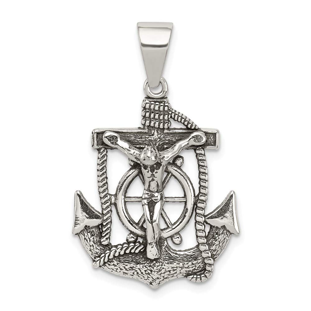 Solid 925 Sterling Silver Antiqued-Style Mini Mariner INRI Crucifix Cross Pendant