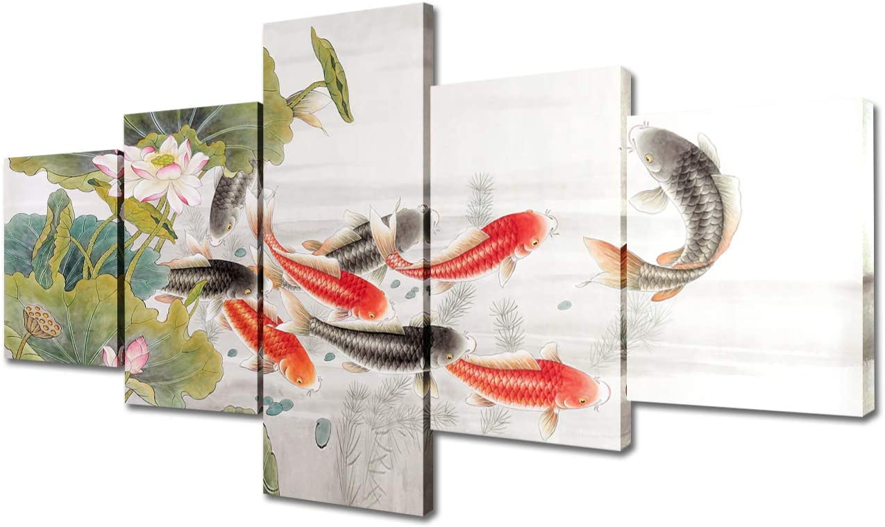 Carp Leaping Dragon Gate Paintings House Decorations Living Room Koi Fish Pictures 5 Piece Canvas Wall Art Asian Artwork Home Decor Wooden Framed Gallery-wrapped Stretched Ready to Hang(50''Wx24''H)