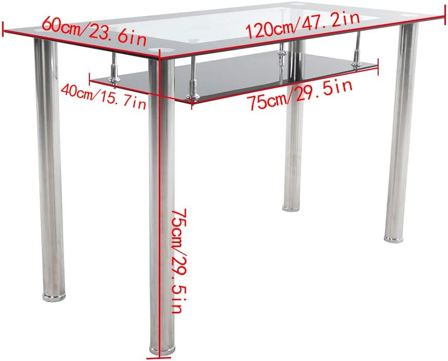 Redd Royal Rectangle Tempered Glass Dining Table Stainless Chrome Leg with Storage Shelf 2 Tier Kitchen Room Table Black/&Clear