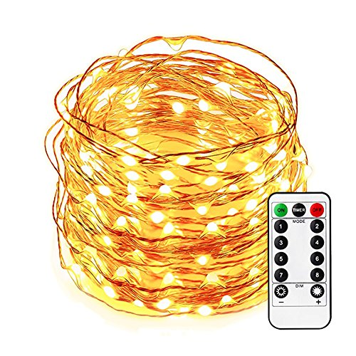 Konxie 33ft 100 LEDs Decoration LED String Lights with Remote Control, Warm White, 8 Patterns for Christmas Wedding Party Home Patio Lawn Decorations -