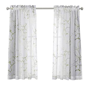 MYSKY HOME Leaves Fashion Design Print Striped White Sheer Curtains with Rod Pocket for Bedroom, 52 by 63 inch, Green, 2 Curtain Panels