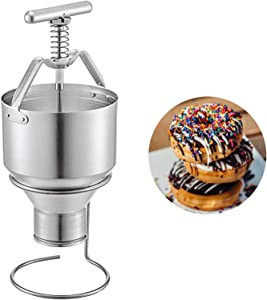 Manual Donut Depositor 5L Dount Machine, Dropper Plunger Dough Batter Dispenser Hopper with Stand, 6 Adjustable Thicknesses Mini Donut Maker, Home Commercial Use DIY Cake Pastry Baking Tools