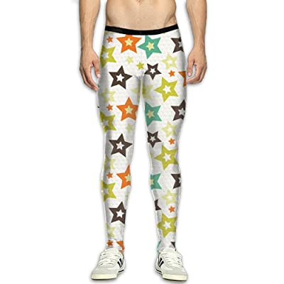 GGJHYFDF Men's Star (2) Compression Tight Pants Base Layer Running Leggings