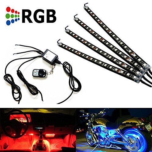 iJDMTOY 7-Color RGB LED Motorcylce Bike Ground Effect Lighting Kit (4 x 12 inches) (4 Piece Ground Effects)