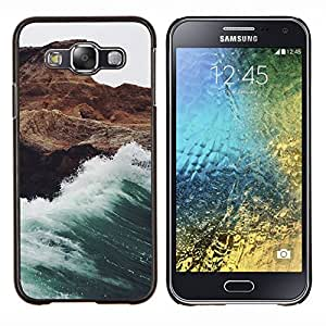 LECELL--Funda protectora / Cubierta / Piel For Samsung Galaxy E5 E500 -- Ola blanca espuma de las rocas del acantilado --