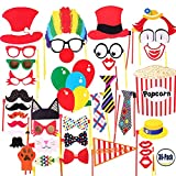 COOLOO Attached Photo Booth Props, Party Favors for Wedding Birthday Carnival Bachelorette Dress-up Acessories 36 Pcs, Costume with Mustache, Glasses, Cat, Clown, Bowler, Bowties on Plastic Sticks