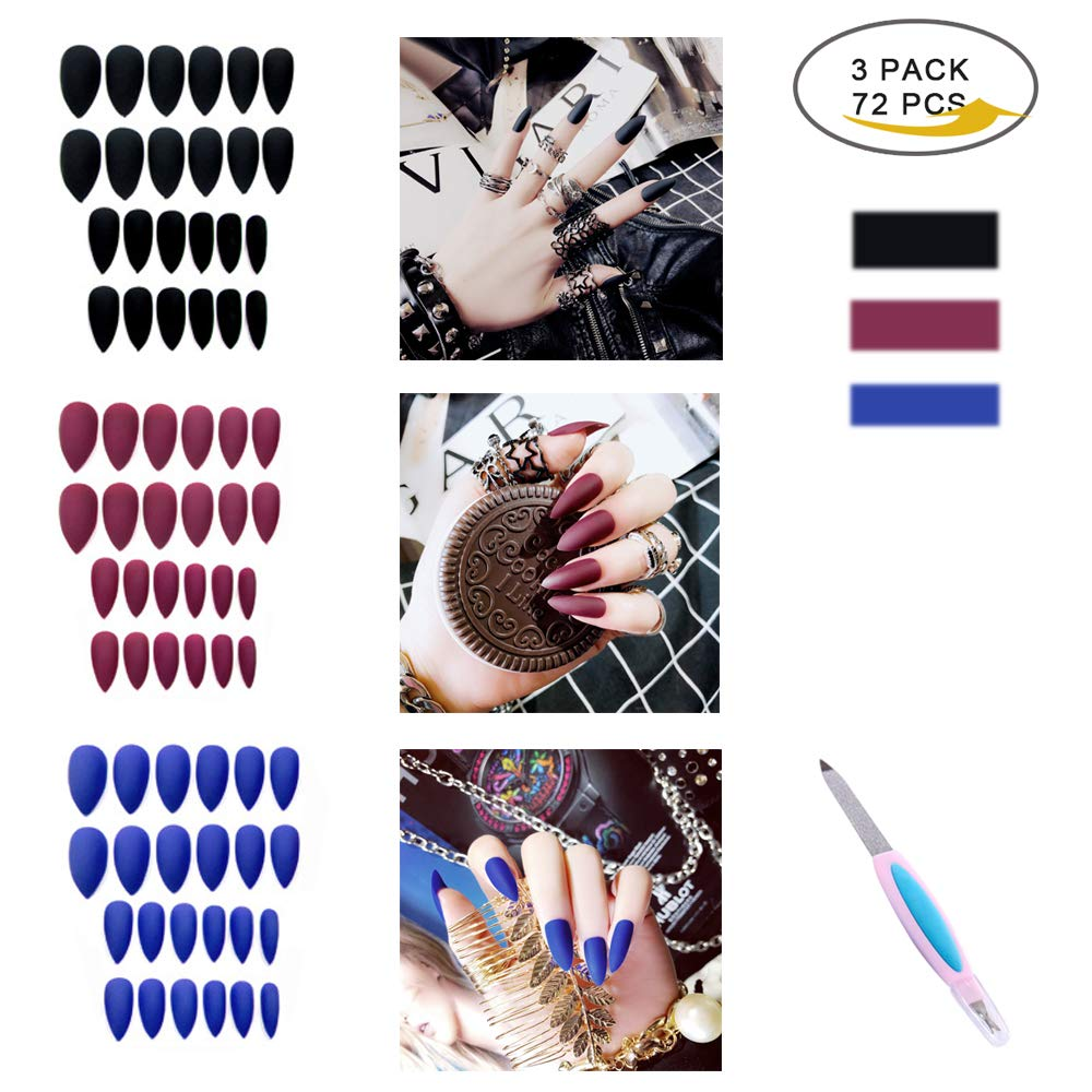 False Nails kit, 72PCS Press On Nail Fake Gel Nail Tips with Nail Glue, 3Pack Full Cover Artificial Acrylic Nails, Manicure Nail Decoration for Fingernail Art Design, A Nail Buffer File by MANGOIT