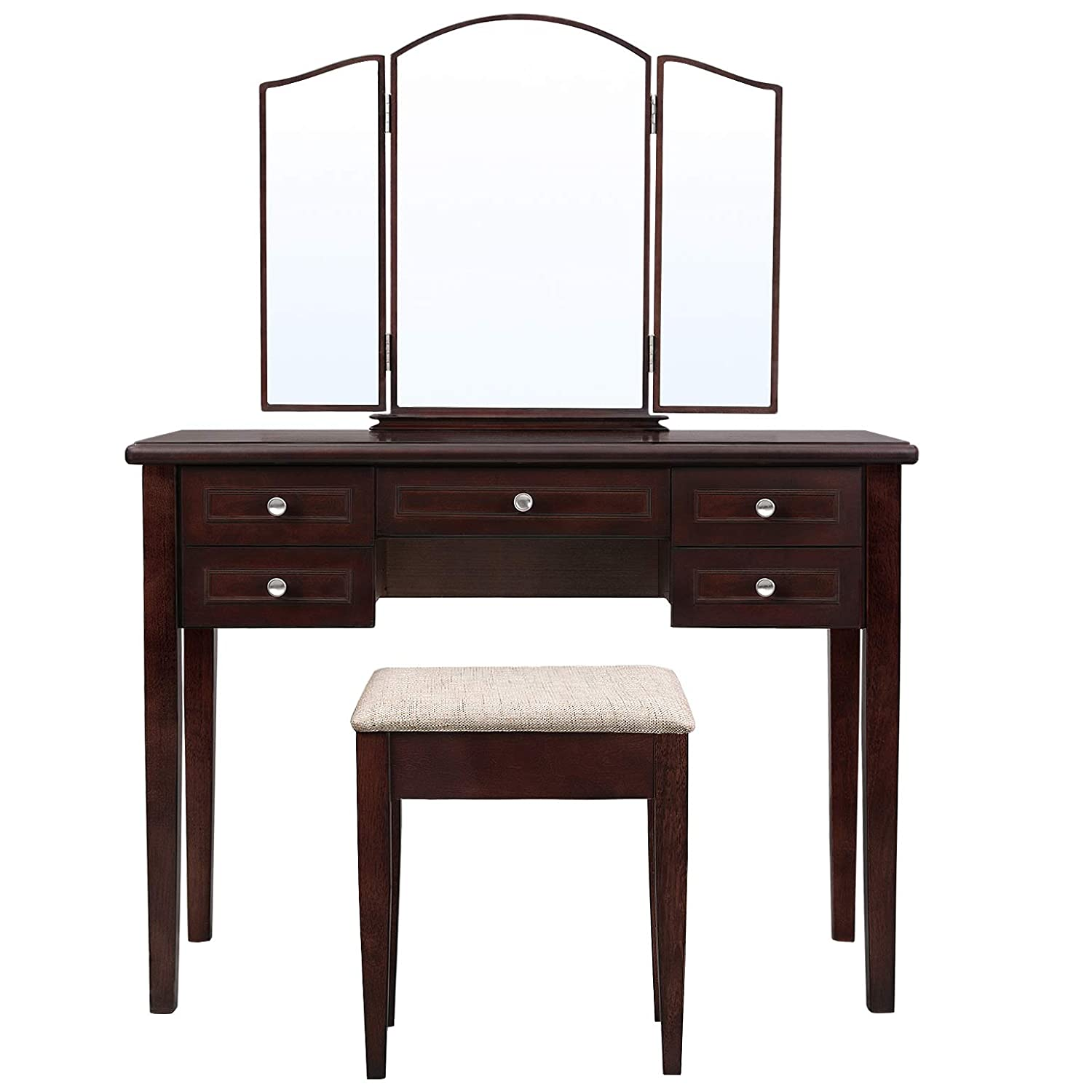 VASAGLE Vanity Set with Tri-Fold Mirror, Dressing Table with 5 Drawers, Desk with 1 Stool, Makeup and Cosmetics Storage, Multifunctional, Easy to Assemble, Brown URDT107BR
