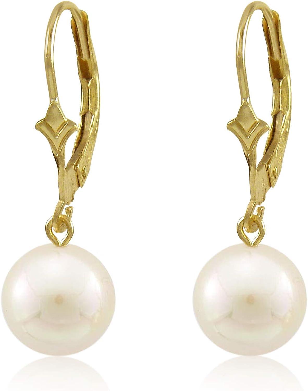 kezef Paire de goutte deau douce authentique blanc perles avec pendentif en forme de 10/K or Fleur de Lys Boucles doreilles dormeuses