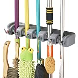 Esup Mop and Broom Holder, Broom Organizer Wall Mounted for Your Closet with Limited Space Holds Mops,Brooms,Dustpan,Shovel(5 Ball Slots and 6 Hooks)