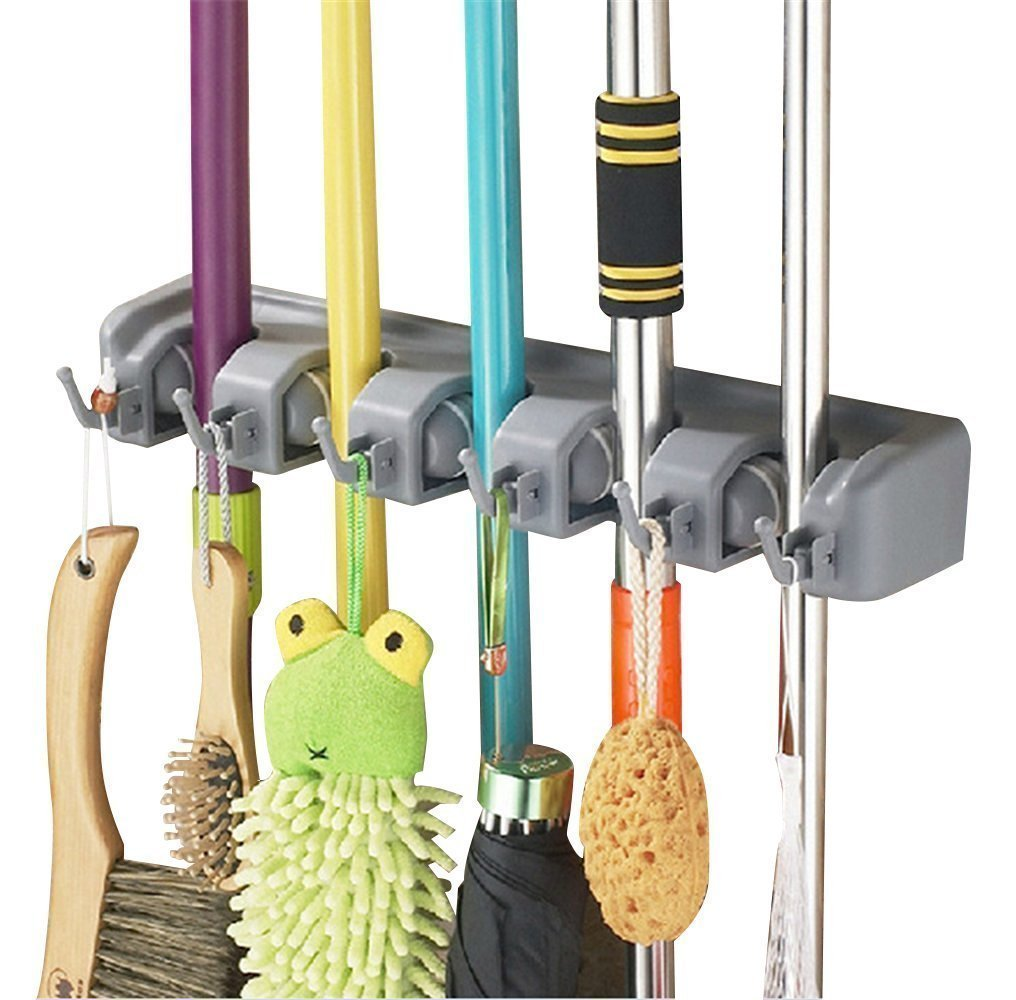 Esup Mop and Broom Holder, Broom Organizer Wall Mounted for Your Closet with Limited Space Holds Mops,Brooms,Dustpan,Shovel (5 Ball Slots and 6 Hooks), Perfect School Supplies