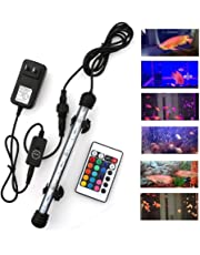 """MQUPIN Submersible LED Aquarium Light, Color Changing Fish Tank Light with Remote Control, IP68 Crystal Glass LEDs Lights Bar CE FCC RoHS (9LED-8"""")"""
